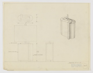 Design for table lamp in white and brown leather and polished brass seen in side and front elevation, plan, and perspective. At right, perspective drawing shows backward Z-shaped metal base inset into a truncated capsule whose left surface is sheathed in white leather and the right in brown leather. At lower left, a front elevation indicates that the Z-shaped base hooks under the leather volumes, slightly elevating the capsule and reaching up its other side forming one continuous angular metal loop. Object dimensions and materials inscribed in graphite. Inscribed with Deskey No. 405.