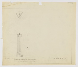 Design for table lamp in either white marble and bronze or glass and green bronze seen in elevation with base in plan. At upper left plan reveals trefoil shape of base and body, the former wider than the latter. Below, elevation shows trefoil foot and mount in metal from which rises a trefoil composite column of marble. This volume topped by metal cap from which rises cylindrical support for light bulb, obscured by round or rectangular shade without visible finial. Materials and scale indicated in graphite, with ruled margins in the same. Adhesive stain at upper left corner with losses along the top perimeter.