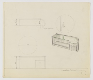 Design for vanity with glass top, revolving shelf, and circular wall mirror seen in plan, front elevation, and perspective. At right, perspective shows rectilinear vanity with curved right edge and glass top (indicated by green color pencil) with circular, revolving shelf (at left) that rests upon object's base. Above is a circular wall mirror. At upper left, plan indicates dimensions and operation of circular storage shelf while below, front elevation of vanity and mirror provides additional specs. Margins ruled in graphite.