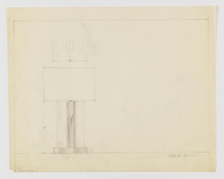 Design for table lamp seen in elevation and perspective. At upper left, perspective of shade or base indicates pointed ellipsoidal or hull-shaped volume. Below, an elevation reveals pointed ellipsoid mounted perpendicularly on base; the central core is heavily shaded while either side is not, probably indicating use of two different materials. Base is wider than ellipsoidal volume. Margins ruled in graphite.
