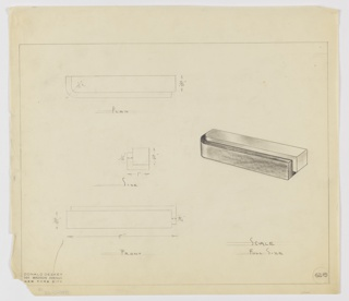 Design for drawer pull seen in plan, side and front elevations, and perspective. At upper left, plan indicates rectilinear volume with curved left edge. Below at center side view describes rectilinear shape with secondary L-shaped volume wrapping lower plane and two-thirds of pull height. At lower left, front view describes superimposition of shapes. At right, perspective view describes stepped silhouette of rectilinear volumes with curved left edge. Margins ruled in graphite. Inscribed with Deskey No. 6219.