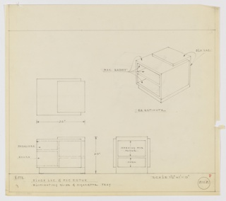 "Design for rectilinear telephone cabinet with storage for books and magazines in Macassar ebony and black lacquer seen in plan, front and side elevations, and perspective. At upper right, perspective shows rectangular cabinet in Macassar ebony wrapped in black lacquer; below appears the note ""RE ESTIMATE."" At center left, plan indicates object footprint and layered composition, while below at left and center, elevations provide additional specs and indicate storage spaces for magazines and books (at object's left) and telephone and additional items (at object's right). Margins ruled in graphite. Inscribed with Deskey No. 8218; for rough sketch of this object, see 1988-101-1378; for drawing of this object with ash tray and slider track, see 1988-101-1380."