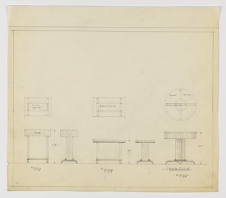 Three designs for occasional tables. From left to right: plan and elevation for 28-inch tall table with 22x15-inch tabletop with drawer; plan and elevation for 20-inch tall table with 27x16-inch tabletop, no drawer; plan and elevation for 27-inch tall table with 27-inch diameter tabletop, now drawer. In each design, table supported by planar legs that terminate in downturned bracket-like feet; the rectilinear versions have double cylindrical stretchers while round table features legs configured in Greek-cross plan. Inscribed, from left to right, with Deskey Nos. 8173, 8174, and 8175. Margins ruled in graphite.