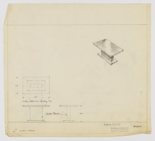 Design for end table in California redwood burr and striped mahogany seen in plan, front and side elevations, and perspective. At upper right, perspective shows rectangular surface in California redwood burr supported by perpendicular plane and parallel, slightly smaller, rectangular base in striped mahogany. At center left, plan describes object footprint while below at left and center, elevations indicate materials and additional specs. Margins ruled in graphite. Inscribed with Deskey No. 8432.
