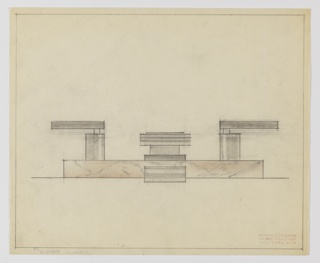 Design for faucet set seen in elevation. Faucet and handles mounted on marble or granite plinth, veined in black and shaded with brown pencil. Handles are horizontally-oriented, rectilinear and affixed to cylindrical stands while faucet, also horizontally-oriented rectangle, seems to stand on rectilinear support. At center is another rectangular shape, possibly plug/drainage mechanism. Border around perimeter of drawing in graphite.