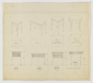 Four end table designs seen in perspective, plan, and elevation. At far upper left, perspective shows 8x13-inch rectangular tabletop with blank molding below, under which are two drawers; four legs are slightly tapered with outward-turned feet. At center-left, perspective for 27x15-inch tabletop with same blank molding delineating surface from main object volume, which is recessed slightly from the plane of the legs, which gently taper into out-turned feet. At center-right, perspective shows 22x22-inch table; below, plan indicates that object has pair of drawers on either side. Similar details and legs as other pieces. At upper right, perspective for 27-inch diameter table with small drawers on either side; legs stretch down from bracket-like brace that holds table volume. Inscribed with Deskey Nos. (left to right): 7987, 7988, 7989, 7990. Margins ruled in graphite.