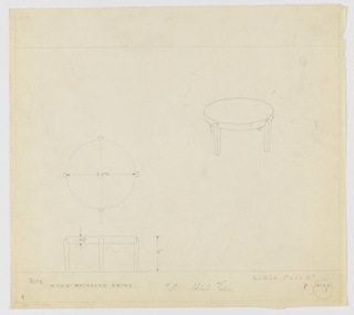 Design for low, round occasional table in Macassar ebony seen in plan, elevation, and perspective. At upper right, perspective shows low round table with disc-like top and four rectangular legs that curve inward at top. At left center, plan describes object footprint while below, elevation describes height and tabletop depth. Margins ruled in graphite. Inscribed with Deskey No. 8129.