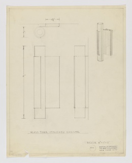 Design for wall-mounted vertical light fixture of glass and polished chrome seen in perspective, front and side elevation, and plan. At upper right, perspective reveals rectangular metal prism mounted to wall; its front plane extends leftward and wraps around a vertically positioned glass tube, holding it in place. At upper left a plan describes how the extending metal plane covers half of the glass tube's circumference. Below, at lower left and right, front and side elevations (respectively) indicate the object's proportions and the depth of the fixture. The glass tube is longer than its metal mount. Margins ruled in graphite and object dimensions indicated in the same. Inscribed with Deskey No. 401.