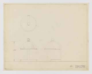 Design for desk lamp seen in front and side elevations and in plan from above. Rectangular base with hemispherical shade hanging from arched arm and affixed with spherical finial. At lower left front elevation indicates that base is as wide as shade diameter while at lower right, side elevation shows that base is rectangular volume at whose rear extends an arm that terminates in a curve which hugs and suspends the lamp shade. Shade is hemispherical with flat lip around perimeter. Plan seen at upper left. Ruled margins and object dimensions in graphite. Inscribed with Deskey No. 371.