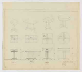 Four end table designs seen in perspective, plan, and elevation. At upper left: 16x16-inch square table with drawer on square post with four down-curving feet. At upper left-center: 27x16-inch tabletop rests on vertically oriented rectangular plane with one down-curved foot running object width and four additional, similar feet positioned perpendicularly. At upper right-center: 22x22-inch square table with drawer rests on Greek-cross support with down-curved feet extending from its base. At upper right, two-tiered 27-inch diameter tabletop rests on Greek-cross support with down-curved feet extending from its base. Each perspective accompanied by plan and elevation below. Margins ruled in graphite. Inscribed with Deskey Nos. (from left to right): 7983, 7984, 7985, 7986.
