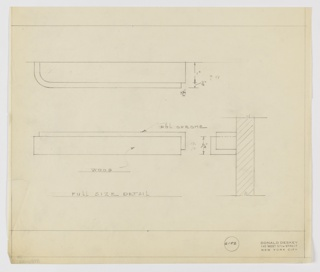 Full-size design detail of drawer pull in wood and polished chrome seen in plan, elevation, and profile. Above, plan indicates layered rectangular volumes with curving left edges. Below, at left, elevation describes overlapping volumes of wood and polished chrome, similar to profile view at right. Margins ruled in graphite. Inscribed with Deskey No. 6152.