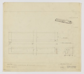 Design for drawer pull in polished chrome and wood for Luce Furniture Company. At upper left, perspective drawing reveals stepped rectangular pull: primary volume in wood with curved upper-front corner echoed in polished chrome plane that wraps its upper surface. At center left pull seen in plan from above; below, seen in front elevation. At lower right pull pictured in profile with details of material layering; possible representation of finger hole seen in profile is not present in perspective view. Margins ruled in graphite with object materials and dimensions in the same. Inscribed with Deskey No. 6123.