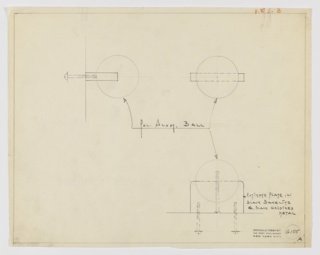 "Design for drawer pull in polished aluminum and black Bakelite and black oxidized metal seen in profile, front elevation, and plan. At left, profile shows how object would be screw-mounted to drawer or cabinet while above at right, front elevation describes relative width of sphere and its mount. Below, at right, plan further describes how sphere is screw-mounted to its base which is in turn mounted by two screws. Base is rectangular with curved outer corners. Margins ruled in graphite with object materials indicated in the same. In upper right corner red pencil inscription ""V.&S."" indicates design for Valentine & Seaver. Inscribed with Deskey No. 6105."