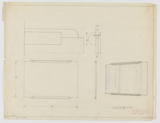 Design for mirror in front elevation, side profile, and perspective with additional detail sketches of mounts. At lower left, front elevation shows rectangular plane with horizontal, rectangular mounts at center of top and bottom edges. At lower center, profile view describes layered composition of mounts, while at right, a perspective in graphite and blue color pencil indicates curved edges and relative depth of mounts. Above, a series of details in graphite describe the dimensions and composition of object mounts. Margins double-ruled in graphite with dimensions and scale indicated in the same.