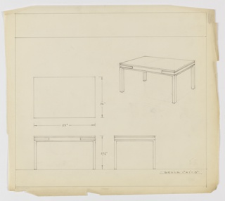 Design for occasional table seen in plan, front and side elevations, and perspective. At upper right, perspective shows rectangular Parsons-like table resting on four square-plan legs. Between base and tabletop is blank band with rectilinear brackets on corners. At left, plan indicates object dimensions while below, at left and center, elevations provide further specs. Margins ruled in graphite.
