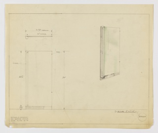 Design for illuminated mirror seen in plan from above, front elevation, and perspective. At right, perspective shows vertically oriented rectangular mirror (shaded with green color pencil) set onto layered metal hardware and with a cylindrical holder for a tubular lightbulb running up its left side. At lower left, front elevation describes object dimensions and configuration while above, a plan shows depth of different object components (mirror, mount, and light fixture). Margins ruled in graphite. Inscribed with Deskey No. 3060.