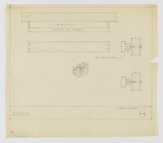 Design for drawer pull in metal and wood or plastic seen in plan, elevation, two profiles, and perspective detail. Above, plan describes composition of rectilinear shapes: a metal volume wrapped in wood or plastic. Just below, elevation reveals rectangular silhouette. At right, one profile view describes angular polished aluminum hardware affixed to wood surface, while below, a similar version with rounded metal base is described. At center, perspective detail describes superimposition of wood or plastic volume over metal mount. Margins ruled in graphite. Inscribed with Deskey No. 6309.