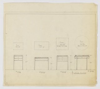 Four designs for occasional tables with tapered legs. From left to right: plan and elevation of 27-inch tall table with 18x13-inch tabletop and pair of stacked drawers with round knobs; plan and elevation for 23-inch tall table with 27x15-inch tabletop, now drawer; plan and elevation for 26-inch tall table with 22x22-inch tabletop and pair of stacked drawers with round knobs on either side; plan and elevation for 27-inch tall table with 27-inch diameter tabletop and shallow drawers with round knobs on either side. In each design, tabletop rests on top of frame and legs gently curve downward from top and terminate in tapered foot.  Inscribed, from left to right, with Deskey Nos. 8176, 8177, 8178, and 8179. Margins ruled in graphite.