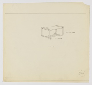 Design for rectangular occasional table in oxydized [sic] black and polished bronze seen in perspective. Rectangular tabletop rests between two bracket-like frames in oxidized black bronze that curve inward at foot and are connected by three polished bronze tube stretchers. Margins ruled in graphite. Inscribed with Deskey No. 6203.