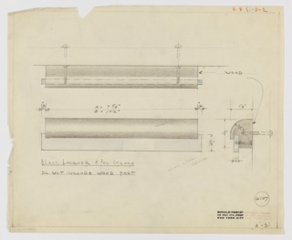 Design for drawer pull in black lacquer and polished chrome for Valentine-Seaver Company seen in plan, elevation, and side profile. At upper left, plan details how drawer pull would be mounted with two screws. Below at left an elevation describes a cylindrical shape curved forward over a polished chrome rectangle, slightly wider than cylinder. At lower right, profile view reveals relative depth of volumes and indicates that polished chrome bar functions as finger pull. Upper right margin inscribed in orange color pencil: V. & S. -D-2. Margins ruled in graphite. Inscribed with Deskey No. 6107.