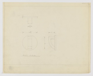 Design for drawer pull seen in plan, elevation, and profile. At upper left, plan indicates perpendicular arrangement of drawer pull components. At lower right, profile reveals half-shield-shaped volume with open center affixed to vertical mount. Elevation at lower left shows that mount is circular disc. Margins ruled in graphite with dimensions indicated in the same.