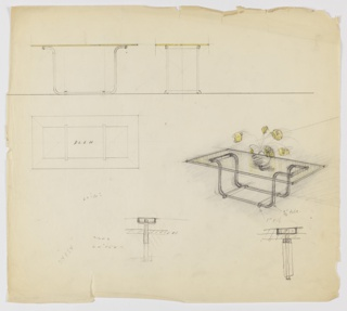 Design for low occasional table in tubular steel and glass seen in plan, front and side elevations, and perspective with rough detail sketches; probably designed for Ypsilanti Reed. At center right, perspective shows rectangular occasional table with unframed glass top supported by continuous, scrolling tubular steel base reinforced with perpendicular stretchers; object shown with vase of yellow flowers on surface. At upper left, table seen in front and side elevations while below, at center left, plan reveals depth of object components. Below at center and right are rough detail sketches. Dimensions indicated in graphite throughout drawing.