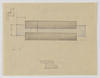 Design for drawer pull. Rectangular forms layer and zigzag to provide plane to mount to furniture as well as finger grip for use. Central volume in blue and upper- and lower-flanking volumes in black. At upper left and lower center, graphite sketches provide idea of pull's intended orientation.