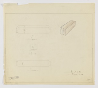 Design for a drawer pull seen in plan, side and front elevations, and perspective. At top left, plan shows rectangular volume with rounded rear corners wrapped in secondary material that does not quite extend to bottom. Below, side drawing indicates rectilinear silhouette without rounded edges seen in plan. At lower left, front elevation reveals object's stepped outline with thicker volume at front. At upper right, perspectival view uses color pencil to indicate wooden material for body of pull and blue material (possibly Bakelite or similar) wrapping rear elevation. Inscribed with Deskey No. 6231.