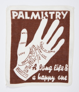 Brown and white cocktail napkin with the palm of a hand marked with the lines commonly read in palmistry.