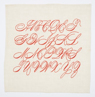 Two Napkins, Spencerian Alphabet
