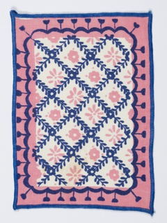 Three cocktail napkins in pink and blue