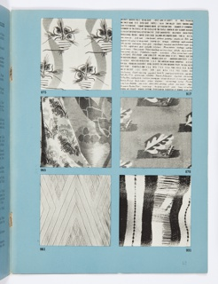 Two-page spread that is in the section on Modern Textiles. Left page of the spread has blue paper with two columns of numbered entries containing the designer name, country of origin and information about the textiles presented at the Exposition. Right page has six black and white photographic reproductions with numbers that correspond to the entries.