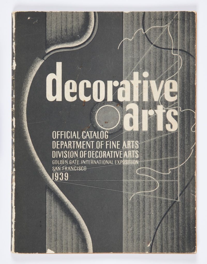 Softcover catalog for the Decorative Arts section of the 1939 Golden Gate International Exposition in San Francisco, California. Cover is printed in black and white with shades of gray in a striking composition that reflects the elements of interior design and decoration. Two vertical bands comprised of a series of shaded gray vertical lines suggest fluted columns. Superimposed over these columns and title text are meandering lines that mimic thread and thick cords. A group of thin lines radiate left and converge on the year 1939 in the form of a vanishing point that draws eye toward the text.