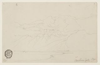 Horizontal view of a mountain seen across a plain, and water