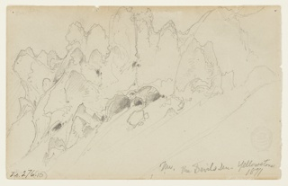 Recto: Horizontal view of the gorge at Devil's Den, Yellowstone.