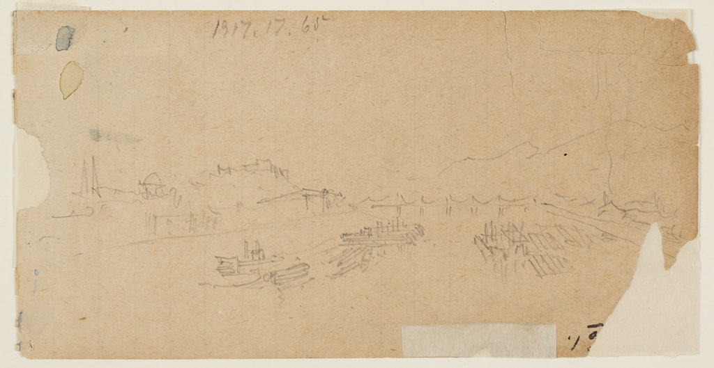 Recto: Horizontal view of Teton range seen from the plain.