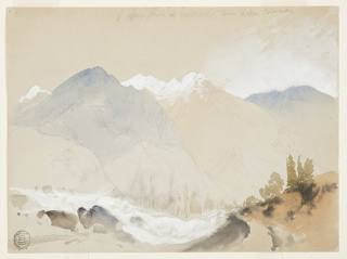 Recto: a trail in the foreground opens to a view of a valley with a rushing stream, leading to mountains in the distance.
