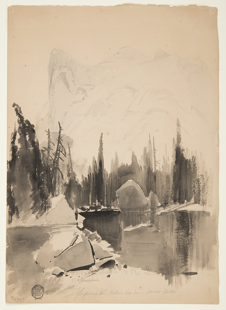 Vertical view of lake in foreground reflects pines in middle distance.  North Dome rises, rear left. Verso: Graphite sketch of lake and trees.