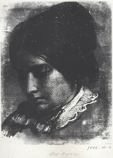 Portrait of Sophie Huntington showing the left profile of her lowered head.