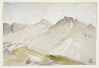Panorama over a cliff edge toward three violet-crowned mountain peaks. Brown earth and rocks in the foreground; sky brushed in with white gouache.