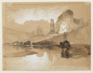Recto: Horizontal view of stream in foreground, castle-like cliffs in right middle ground, and large mountain range in background. Verso, in opposite direction: a huge human figure standing upon cliffs.
