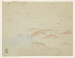 Recto:  Horizontal view of valley, bordered at back, at left and in the foreground by mountains.