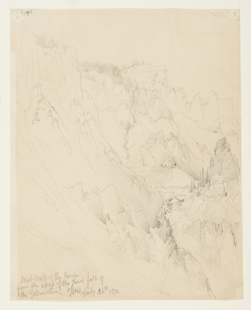 Recto: Vertical view of west wall of the canyon with stream at center, pine trees and rock formations throughout, seen from the edge of the lower fall. Verso, in opposite direction:  Slightly sketched view of canyon landscape.