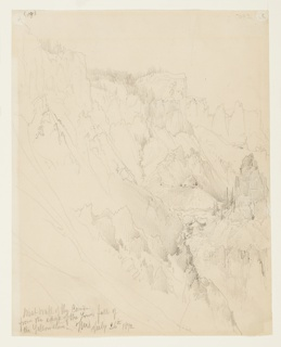 Recto: Vertical view of west wall of the canyon with stream at center, pine trees and rock formations throughout, seen from the edge of the lower fall.