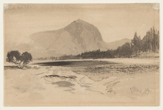 Recto: horizontal view of a small hot spring on Gardener's River located in a wooded valley, with mountain ranges in background. Verso: horizontal view of a distant Corinne, Utah at foot of snow capped mountains.