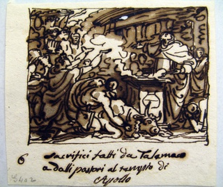 A priest standing at the altar implores the god.  A bull lies beside the altar, killed by a kneeling man.  Telemachus and the sheperds, kneeling or standing surroung the altar.  A part of the temple front is shown in the rear.  