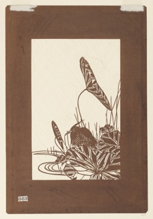 Image of a scene with a heron in a marsh. The heron is engulfed amongst the lilli-pads. A giant leaf is spread wide near its feet while a slender leaf or seed is balancing above. Tiny little bunches of blossoms seem resting on either side of the bird while abstract stems of tall grass or short stems are placed throughout the piece. Four curved stripes suggest the waters edge while the ramaining space has been cut out and silk threads are placed to secure the overall composition.
