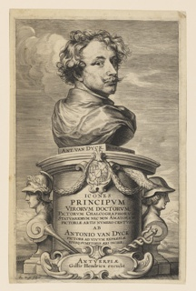 "The bust of Anthony van Dyck on a pedestal, facing right, the head turned sharply over the right shoulder toward the spectator. On the square slab supporting the bus, left: ""ANT. VAN DUCK:' right: ""Ant. van Dyck fecit aqua forti."" Flanking the pedestal are two heads of Mercury, with trumped and caduceus. On face of pedestal: ""ICONES PRINCIPUM VIRORUM DOCTORUM,..followed by: ""ANTWERPIAE/GILLIS HENDRICX EDCUDIT,"" in cartouche. At lower left: ""Iac. Neeffs Sculpsit."" The head etched by van Dyck, plate completed by Neeffs."