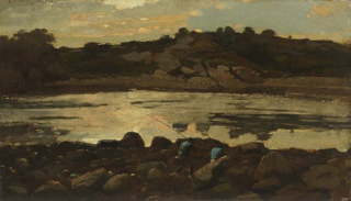 A view of a rocky cove, with a pale-blue sky and pinkish-cream clouds reflected in the water.  Among foreground rocks, two small figures of fishermen dressed in caps and blue coats are visible, one holding a rod and the other a net.