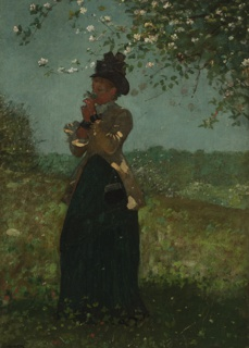Vertical view of a young woman,  dressed in blue skirt, yellow jacket, white jabot and black hat, standing under a branch of an apple tree in bloom and smelling a cluster of blossoms. Beyond, to left, another tree in blossom; woods in distance.